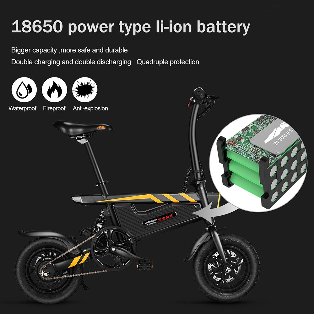 T18 Electric Bike 12 Inch Folding Power Assist Eletric Bicycle E-Bike 250W Motor and Dual Disc Brakes Foldable Electric Bicycle