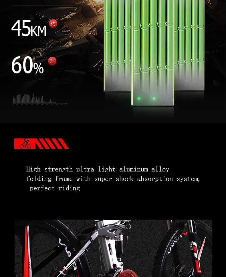 Electric bike 26inch Aluminum Folding electric Bicycle 400W Powerful Mottor 48V12.5A Battery 21Speed Mountain ebike Beach bike