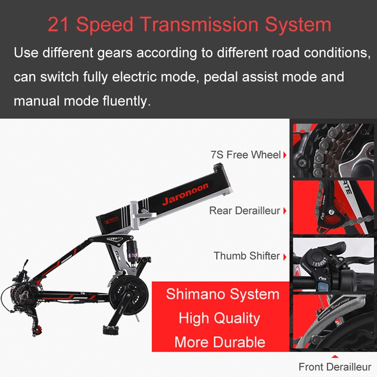 21 Speed Folding Bicycle 48V 12.8A Li-on Battery 26 inch Electric Mountain Bike Dual Suspension,LCD Control 5 Pedal Assist M80