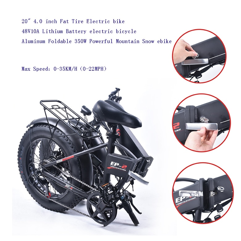 Electric bike 20*4.0inch Fat Tire Aluminum Foldable electric Bicycle 48V12A 500W Powerful bike 7speed Mountain/Snow/Beach ebike