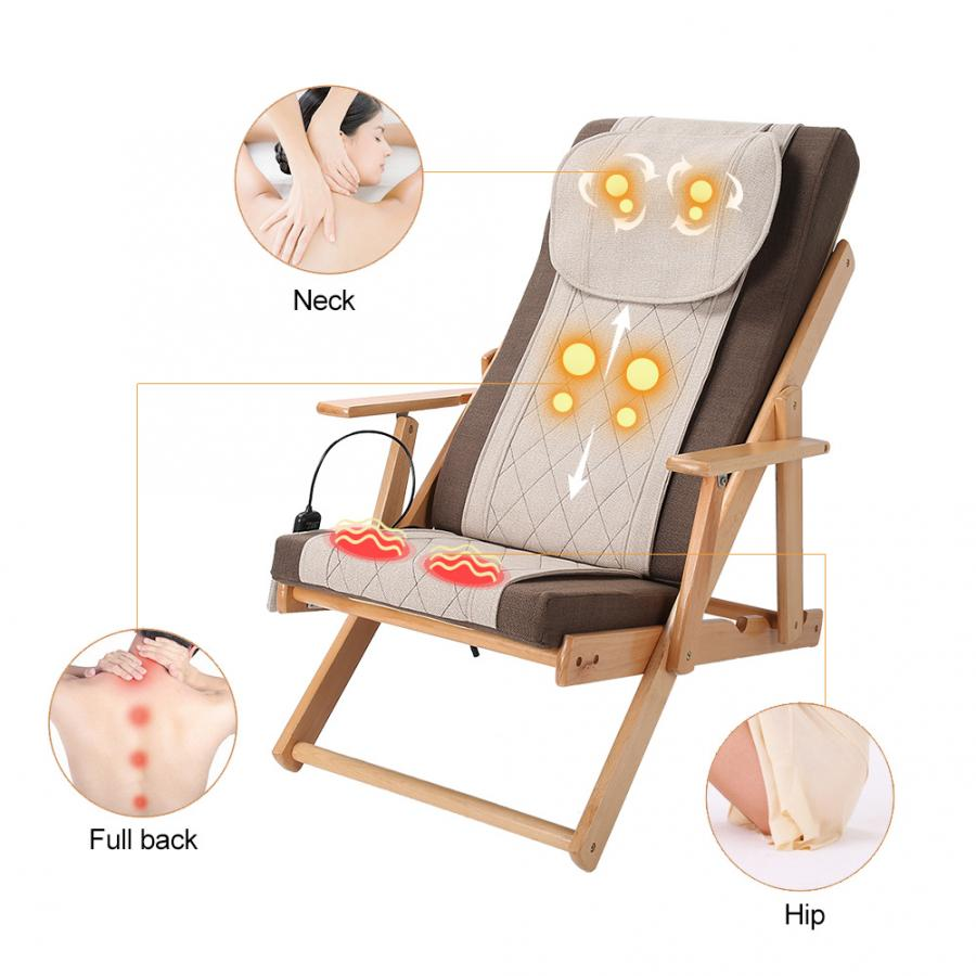 Electric Massage Chair Folding Adjustable Remote Control Neck Full Body Massage Chair 100-240V EU Plug Cushion